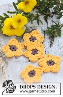"Flores de potentilla DROPS, en ganchillo, en ""Safran"". ~ DROPS Design"