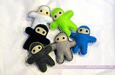 diy ninja plushies for hanging baby crib mobile - army of ninjas - adorkableduo.com