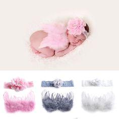 Nuevo Bebé Recién Nacido Venda de La Flor + Ala de Vestuario Foto Fotografía Proposición Trajes Set