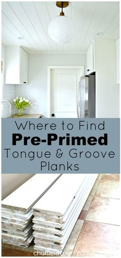 DIY Home Decor Inspiration : Where we found pre-primed tongue and groove pine planks for our kitchen ceiling. Wood Plank Ceiling, Plank Walls, Wood Ceilings, Wood Planks, Shiplap Ceiling, Kitchen Ceilings, Bead Board Ceiling, Plank Wall Bedroom, Painted Wood Ceiling