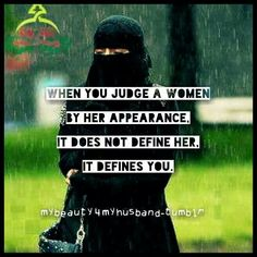 What appearance? You can't tell one person from another in niqabs and burqas. And since this image comes from a tumblr page called My Beauty [is] 4 My Husband it would be great if everyone would stop pinning this to feminism boards. Thanks.