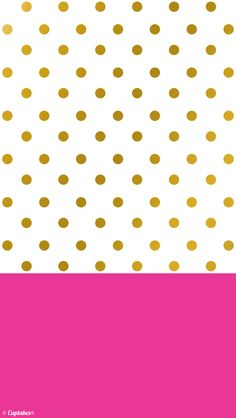 Gold dots and hot pink wallpaper background