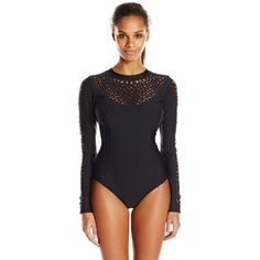 LUXE, by Lisa Vogel Women's A Cut Above Neoprene Long Sleeve Maillot... ($298) ❤ liked on Polyvore featuring swimwear, one-piece swimsuits, one piece maillot swimsuits, bathing suit swimwear, one-piece swimwear, 1 piece swimsuit and tank bathing suit