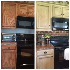 Rustoleum Cabinet Transformation before and after. Oak cabinets updated. Quilters white with decorative glaze. Added faux ceiling tile backsplash in ORB