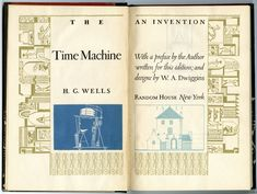 "Title page spread from ""The Time Machine"" by H.G. Wells. Design, lettering, illustration and ornamentation by W.A. Dwiggins. From the Herb Lubalin Study Center of Typography and Design, Cooper Union."