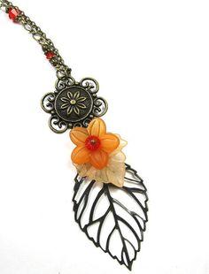 Apricot Orange Vintage Style Floral Necklace from jewelrybyNaLa on Etsy ... https://www.etsy.com/listing/108946073/apricot-orange-vintage-style-floral #apricot orange #vintage style #floral necklace