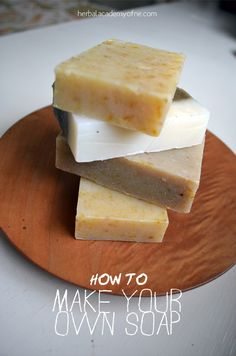 [ How to Make Your Own Soap + Herbal Recipes ] Using lye, water, olive oil, coconut oil, palm oil, essential oil, dried herbs (try mint, rosemary, calendula, etc). ~ from Herbal Academy of New England