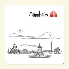 Mannheim City, Skyline Silhouette, Sticker, Google, Germany, Water Tower, Photo Illustration, Calendar, Travel