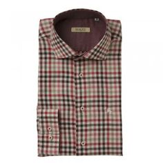 A gingham checked shirt with browns, reds and camels, with a subtle salt and pepper effect. The Jasper is a tailored fitting shirt. Features include, contrasting inside-collar, cut-away collar, adjustable single-cuff and an embroidered wolfhound. Wolfhound, Camels, Gingham Check, Check Shirt, Jasper, Tweed, Knitwear, Salt, Men Casual