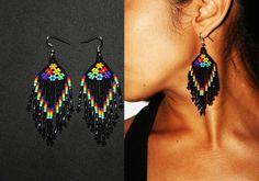 Native American Dangle Earrings Huichol Earrings Native