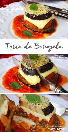 Torre de Berinjela, tenras fatias de berinjela grelhadas, intercaladas por tomate e queijo derretido molho pomodoro e gratinada ao forno.