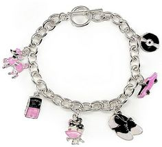 This bracelet is inspired from style having six marvellous charms that are miniatures of a record disk, a pretty pink car, shoes, a couple dancing together,a jukebox and a poodle of pink colour. Charm Bracelets For Girls, Jewelry Bracelets, Ladies Bracelet, Costume Accessories, Fashion Accessories, 1950s Jewelry, Pink Poodle, Cute Charms, Jewelery