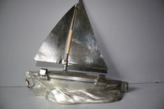 "ANTIQUE METAL CHOCOLATE MOLD -RARE FOUR PART SAILBOAT with MAST ""Letang"""