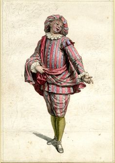 Mezzetino, from a series of eight drawings of Commedia dell'Arte characters, possibly studies for, but more probably copies of a series of a...