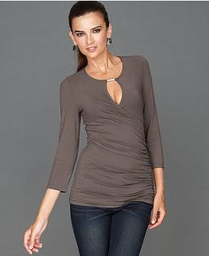 INC International Concepts Top, Three-Quarter-Sleeve Keyhole Faux-Wrap - Tops - Women - Macy's