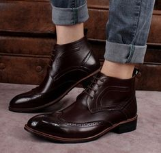 Sapato Brogue Wingtip Bota Oxford Couro Hipster Importado - PRIMEIMPORTADOS