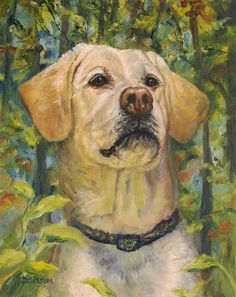 """""""Trail-Happy Yellow Lab"""" Oil on hardboard, 10"""" x 8"""". Yellow labs are in my top favorite dogs.  They love to hang with people wherever they are and this one is in the woods and is checking something out intently.  Their coloring is especially a pleasure to paint."""