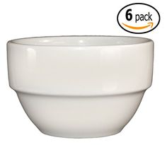ITI Ceramic Stackable Bouillon Cups with Pan Scraper 375 Inch 6 Ounce 6Pack Bone White