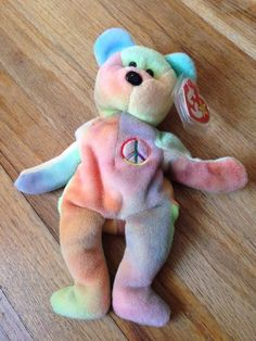 9334984c931 Rare Ty Beanie Baby Peace Bear Original Collectible with Tag Errors