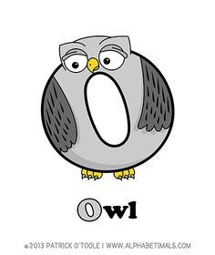 Owl - Alphabetimals make learning the ABC's easier and more fun! http://www.alphabetimals.com