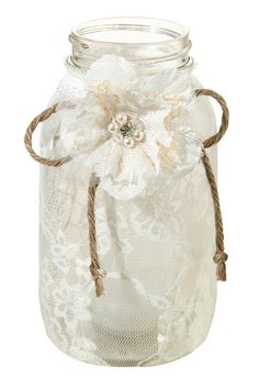 Leave a lasting impression at a special event or party with these elegant Large Lace Jar Covers from Lillian Rose. Each jar is accented with a decorative hand crafted flower and twine bow. The jar covers fit a standard 1 quart jar. Diy Lace Jars, Lace Mason Jars, Mason Jar Crafts, Mason Jar Diy, Bottle Crafts, Wedding Vase Centerpieces, Wedding Decorations, Wedding Jars, Chic Wedding