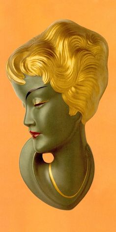 Lady Wall Mask with gold hair. Mai 639 Madchenkopf 1959. Goebel. From 'Wall Masks of the 1950's : Beautiful & Exotic' by Horst Makus (Germany 2000) (please follow minkshmink on pinterest)