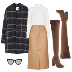 Pair a white mock neck blouse with a leather button-down skirt, over-the-knee suede boots, and a patterned coat for a chic French look