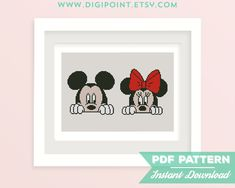 50% OFF SALE Mickey and Minnie Cross Stitch Pattern von DigiPoint