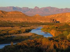 The Rio Grande in the Big Bend Country of Texas: Mexican Sierra Del Carmen in the Distance