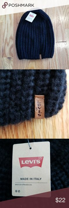 Levi's Crochet Floppy Knit Beenie Soft black crochet knitted hat. Made in Italy!!! Levi tan leather logo in the front of hat. This hat is long enough that it flops down in the back when worn. Levi's Other