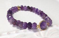 Purple Amethyst w Gold Bezeled Connector Bracelet by LoveandLulu
