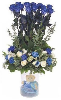 Γιά τήν Γέννηση Blue Birthday, Birthday Gifts, Flower Birthday, Clear Vases, Floral Wreath, Wreaths, Flowers, Color, Shop