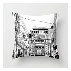 Yokohama - China Town Throw Pillow ($20) ❤ liked on Polyvore featuring home, home decor, throw pillows, black white home decor, paris throw pillows, parisian home decor, black and white throw pillows and paris home decor