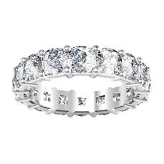 Cushion Cut Moissanite Eternity Ring with Forever One Charles & Colvard moissanites. Moissanite Wedding Rings, Forever One Moissanite, Right Hand Rings, Womens Wedding Bands, Eternity Bands, Fashion Rings, Diamond Cuts, Cushion Cut, Engagement Rings