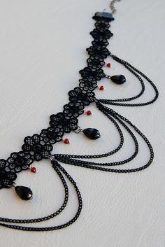 Items similar to Lace choker Romantic gift ideas women Victorian choker Black choker Gothic Choker Gothic Gift for her Black necklace Sexy Choker Sexy gifts on Etsy Lace Necklace, Lace Jewelry, Jewelry Necklaces, Handmade Jewelry, Gothic Necklaces, Jewellery, Crystal Jewelry, Diy Jewelry, Diy Choker