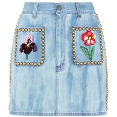 Gucci Embellished Denim Skirt ($1,535) ❤ liked on Polyvore featuring skirts, gucci, bottoms, blue, blue skirt, blue denim skirt, knee length denim skirt and embellished skirts