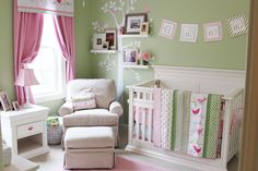 Anna's pink and green nursery and free printable   Izzy Designs, LLC
