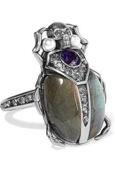 Alexander McQueen silver-tone multi-stone ring