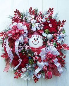 Snowmen And Snowflakes Christmas Wreath by UpTownOriginals on Etsy, $159.00