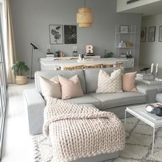 30 Beautiful Living Room Decor And Design Ideas; small sp… 30 Beautiful Living Room Decor And Design Ideas; Pastel Living Room, Small Space Living Room, Living Room Grey, Small Spaces, Living Room Decor Simple, Small Living Room Designs, Nordic Living Room, Living Room Styles, Design Salon