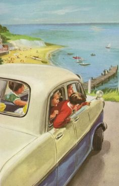 Driving to the sea - Peter And Jane, We Like To Help. Retro Images, Vintage Images, Vintage Artwork, Vintage Posters, Ladybird Books, Art Deco Posters, Art Pictures, Painting Prints, Illustrations Posters