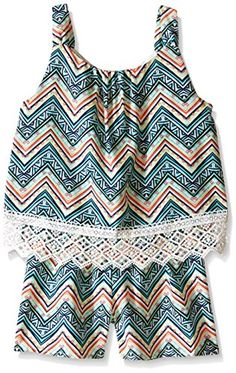 My Michelle Girls' All Over Printed Popover Romper with Lace Hem Detail…