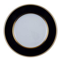 Assiette présentation Porcelaine de Limoges décor 31 cm PIERROT NOIR et OR