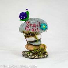 Snail Trail Rock Sign, Fairy Garden Sign, Faerie decor, Whimsical Fairy Sign, Fairy Garden Item, Mini rock sign, Fairy Accessories, by IrmasCraftShop on Etsy