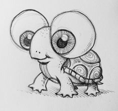 100 Painting Art and Drawing Ideas Malerei Kunst Zeichnungen Pencil Art Drawings, Doodle Drawings, Drawing Sketches, Cute Turtle Drawings, Dragon Drawings, Pretty Drawings, Easy Drawings Of Animals, Drawing Animals, Simple Cute Drawings