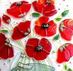 Fused Glass Poppy Panel