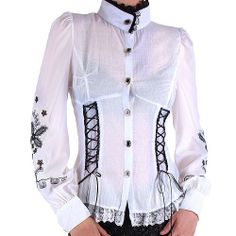 Latest trends for women's visual kei shirts at Crazyinlove. Find gothic shirts, lolita shirts, gothic shirts, punk shirts and steampunk shirts for women. Victorian Shirt, Gothic Shirts, Shirt Dress, Blouse, T Shirt, Visual Kei, Gothic Fashion, Latest Trends, Black And White