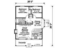 Cottage Style House Plan - 2 Beds 1 Baths 736 Sq/Ft Plan #18-1043 Main Floor Plan - Houseplans.com