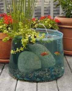 21 Fascinating Low-Budget DIY Mini Ponds In A Pot - The Perfect DIY                                                                                                                                                      More