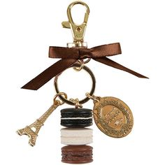 Ladurée Macarons Keyring - Small - Liquorice (130 PEN) ❤ liked on Polyvore featuring accessories, brown and gold key ring